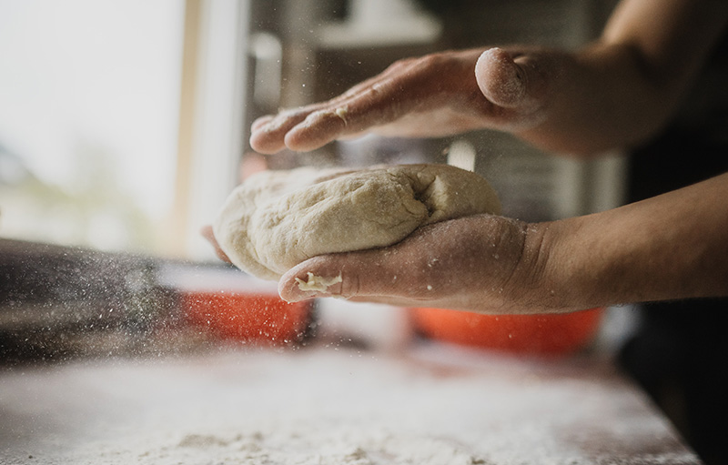 hand-tossed pizza dough